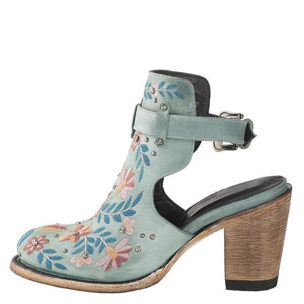 Jolimall Vintage Floral Embroidery Round Toe Ankle Bootie