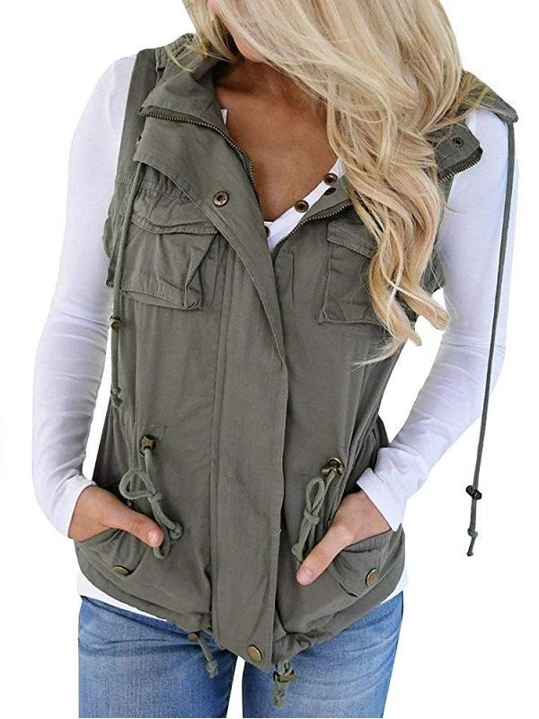 Jolimall Women's Camo Military Safari Vest Sleeveless Jackets with Pocket
