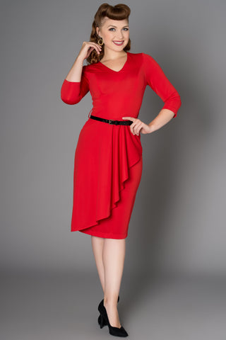 Katie Dress with Waterfall front Detail