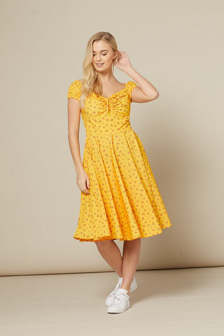 yellow-dainty-floral-swing-dress