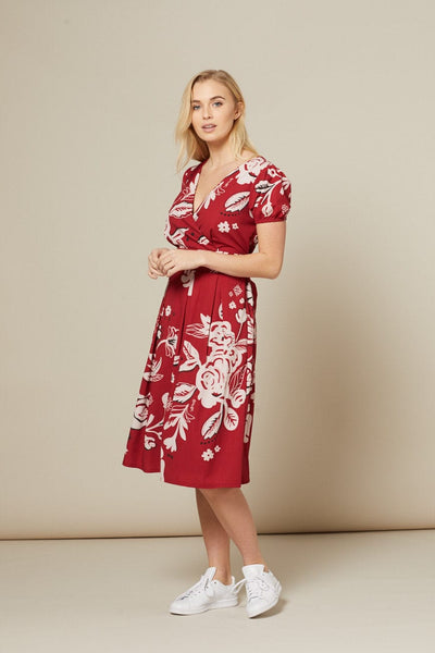 red-and-white-patterned-dress