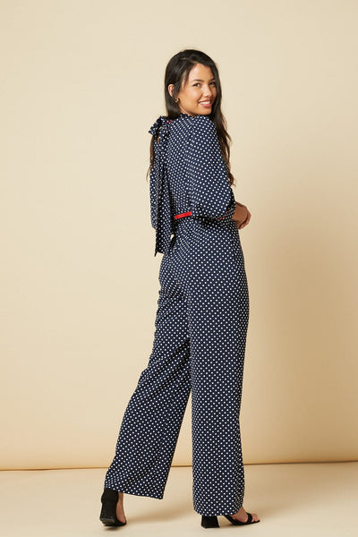 White and Blue Polka dot Nelly wide leg jumpsuit