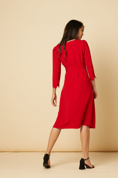 Saloni Red Dress with button details