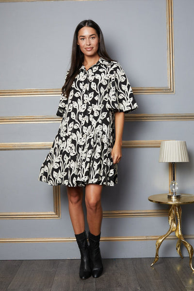 Emmie Embroidered Monochrome Dress