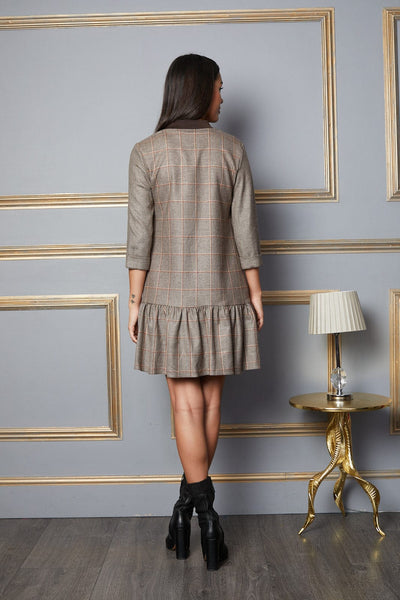 Catherine short Check Dress with Front Zip Detail