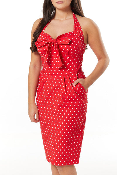 Lyric Red and White Polka Wiggle Dress