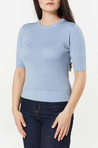 Daisy Short Sleeve Powder Blue Jumper