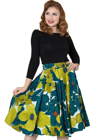 Timeless London Danni 50's style swing skirt with green and lime floral pattern on white. Made sustainably.