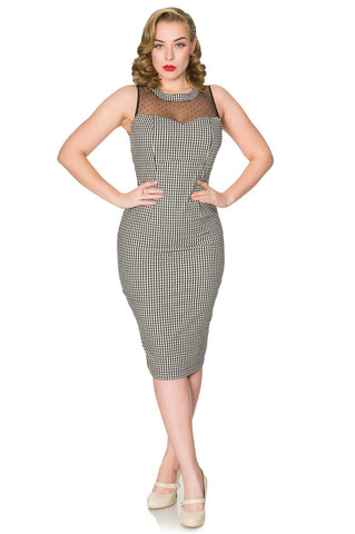 Black and white gingham Erika fitted sleeveless pencil dress, with mesh overlay and polka dot detail. Made sustainably.