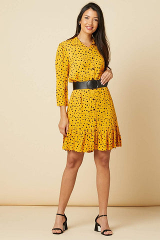 Leslie Mustard Polka dot mini dress with 80s belt
