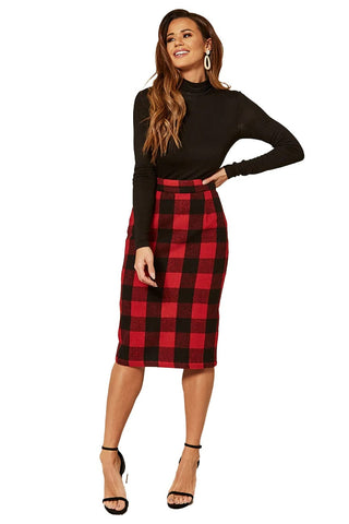 Timeless London Lucy red and black check pencil skirt. Made sustainably.