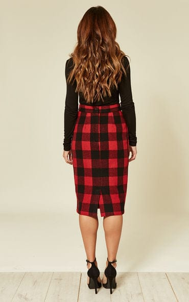 Lucy Red and Black Pencil Skirt