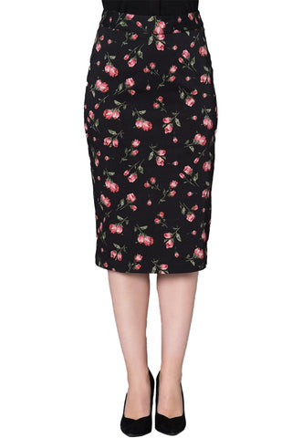 Timeless London black Natasha pencil skirt with red tulip floral print. Made sustainably.