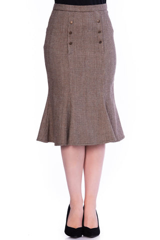 Timeless London 40's style Quarray brown below knee length pencil skirt with fishtail flare and brown buttons. Made sustainably.