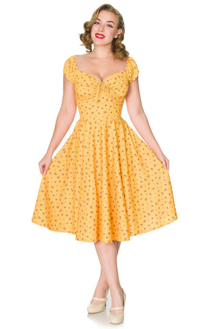 Serenity Yellow Dainty Floral Swing Dress