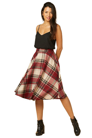 Timeless London Sophie cherry red, grey and white tartan check 50's style swing skirt. Made sustainably.