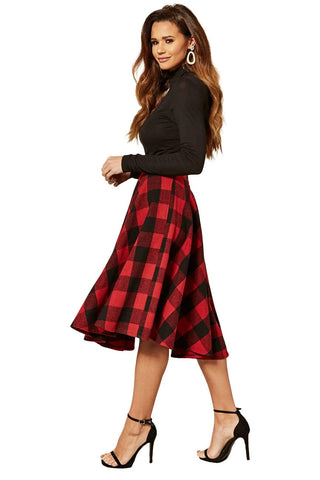 Timeless London Sophie red and black check woollen 50's style swing skirt. Made sustainably.