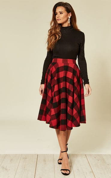 Sophie Red and and Black Woolen Skirt