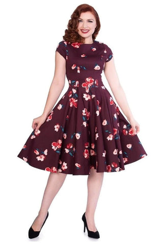 Timeless London burgundy fit and flare skater dress with floral print.
