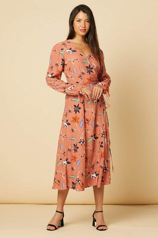 Kelly Dusty Pink Floral  Wrap Dress