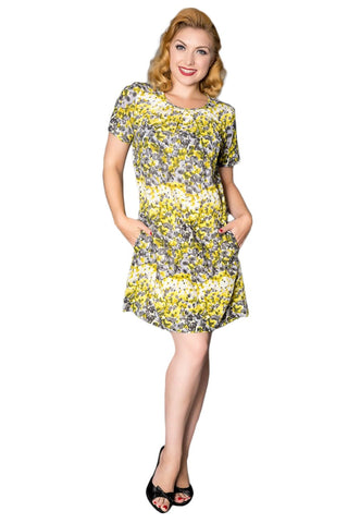 Timeless London loose fit mini dress tunic with grey, yellow and white floral print. Made sustainably.
