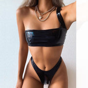 Sexy PU leather one shoulder swimsuit