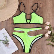 Beautynthebox Sexy neon green bikini set 2020 High waisted swimsuit female Summer bathers Hollow out swimwear women Bathing suit Bikinis