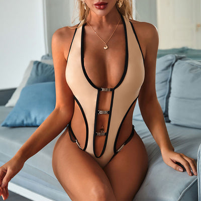 Beautynthebox plunging neck one piece swimsuit female backless swimwear women bathing suit Bodysuit one piece suit Metallic monokini