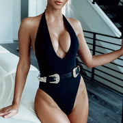 Black bodysuit one piece Belt swimwear