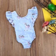 Blue floral children's swimwear