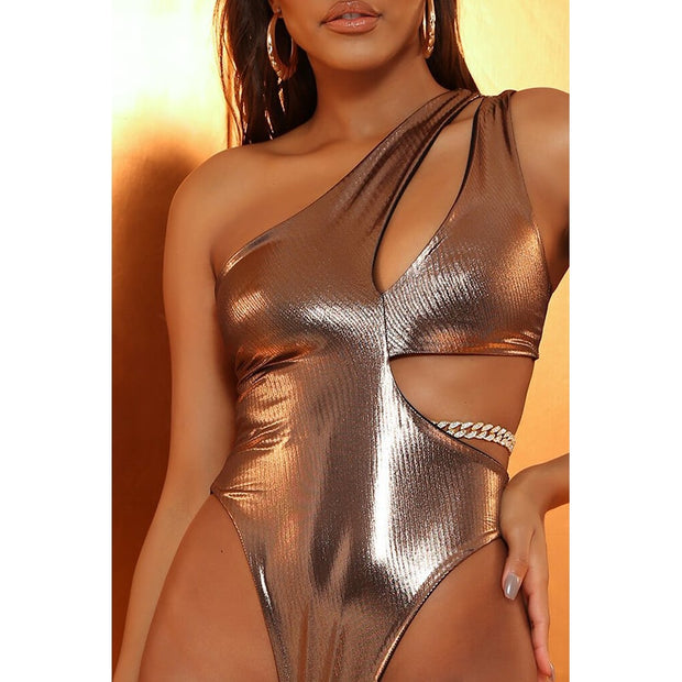 Beautynthebox Vintage gold swimsuit one piece Sexy one shoulder swimwear women Hollow chain monokini Irregular bathing suit Bodysuit new