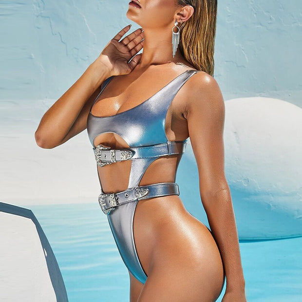 Beautynthebox High cut one piece swimsuit female Silver belt bikini 2019 Hollow out swimwear women Monokini Push up swimsuit bathing suit