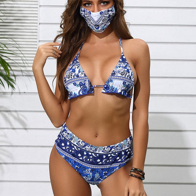 Beautynthebox Vintage high waist swimsuit with masks Sexy push up bikini 2020 printed swimwear women bathers Ruffles bathing suit Biquini