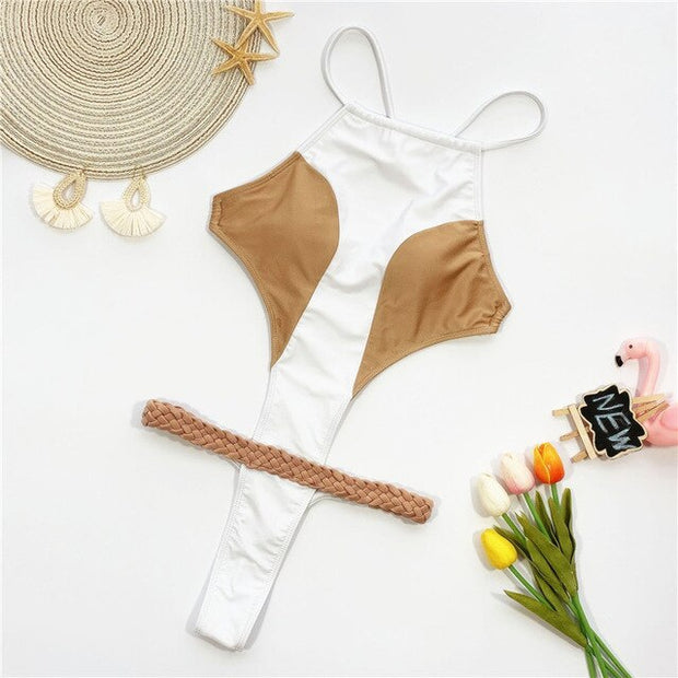 Beautynthebox High cut one piece swimsuit women Sexy thong bikini Halter neck swimwear women patchwork bodysuit one piece suits Monokini