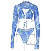 Beautynthebox printed 3 piece swimsuit female High neck bikini 2020 Sexy retro long sleeve swimwear women bathers Push up halter biquini