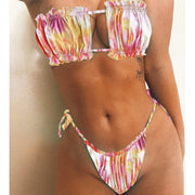 Beautynthebox Micro tie dye bikini 2020 Sexy colorful swimsuit women swimwear Strapless ruffles bikini set bathing suit 2 piece swimsuit