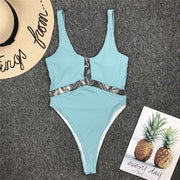 Beautynthebox Ribbed women swimsuit one piece retro ribbed swimwear women backless bodysuit one piece Monokini Transparent swim suit new