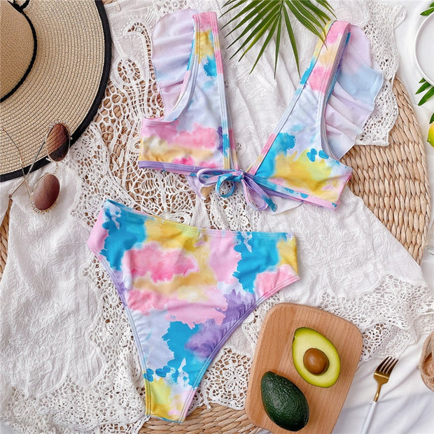 Beautynthebox Ruffles sexy swimsuit women V neck bikini set Tie dye print swimwear women 2020 High waist bikini bathing suit swimming new