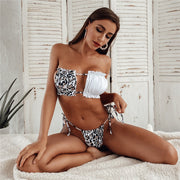 Beautynthebox Sexy leopard bandeau bikini 2020 Pleated swimsuit female swimwear women Frill micro bikini set String swimsuit bathing suit