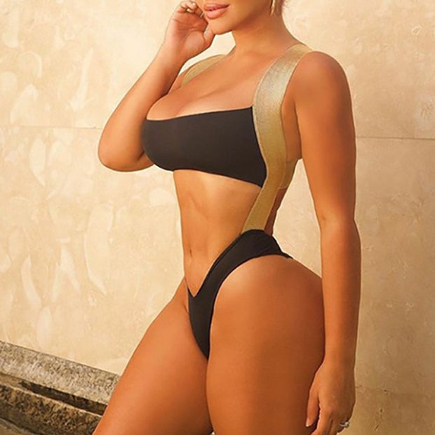 Beautynthebox Shiny Bandeau swimsuit one piece Sexy buckle swimwear women Monokini backless swimwear women swim suit bodysuit one piece
