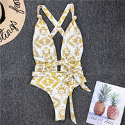Beautynthebox plunging neck Sexy swimsuit one piece Bandage swimwear women swim suit Gold print bodysuit one piece suits Knot Monokini