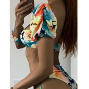 Beautynthebox Bandeau brazilian bikini set Sexy puff sleeve swimsuit female Print swimwear women Swimming suit Bandage Bathing suit XL