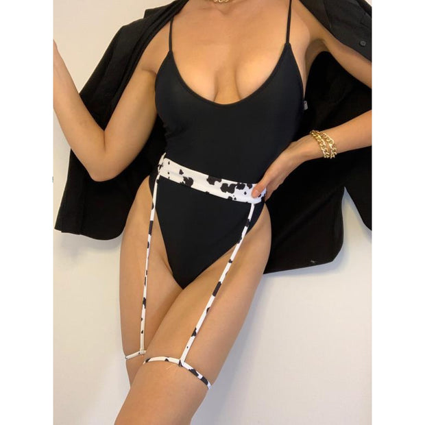 Beautynthebox Sexy halter neck swimsuit one piece Sexy chain swimwear women Monokini black bodysuit one piece suit large size XL bathers