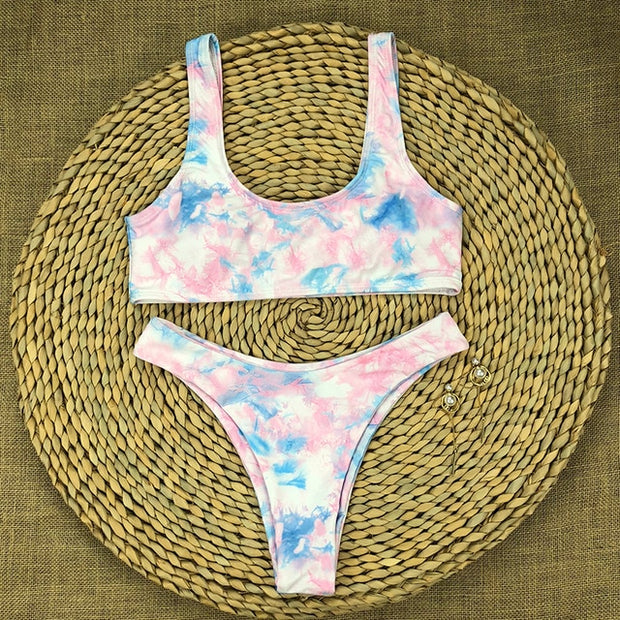 Beautynthebox Tie dye print bikinis 2020 mujer Sexy sports swimsuit women bathers bandeau bikini set 2 piece swimsuit female bathing suit