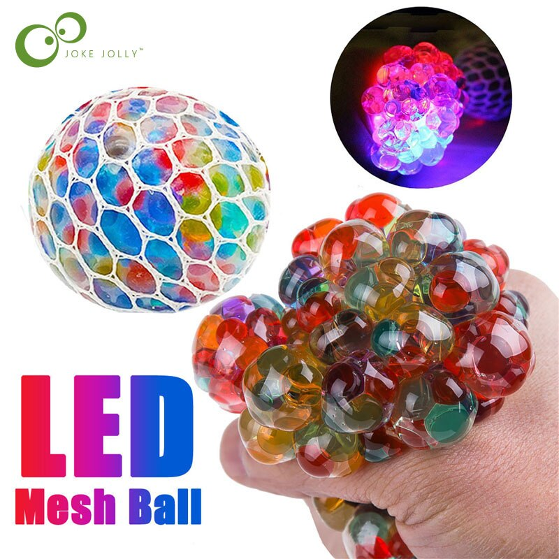 Funny Anti-Stress Squishy LED Mesh Ball Grape Squeeze Sensory Fruity Novelty Toys Kids & Adults Anxiety Relief Stress Toy