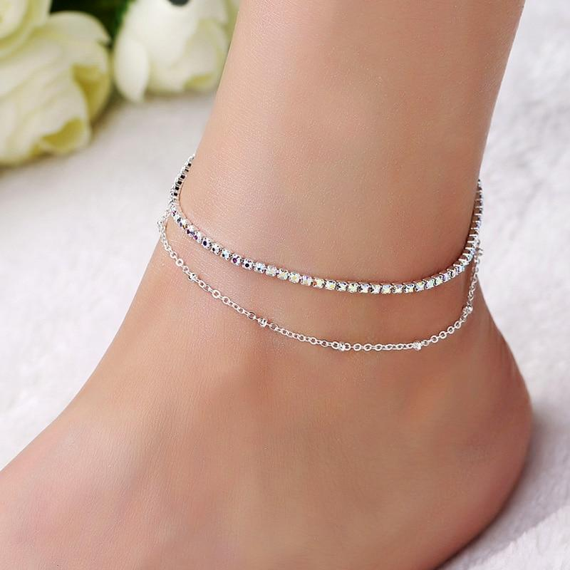 Lovely Girl AB Crystal Ankle Bracelet Silver Color Link Chain Anklet Sexy Barefoot Jewelry Women Foot Bracelet Friendship Gift - CherryKool