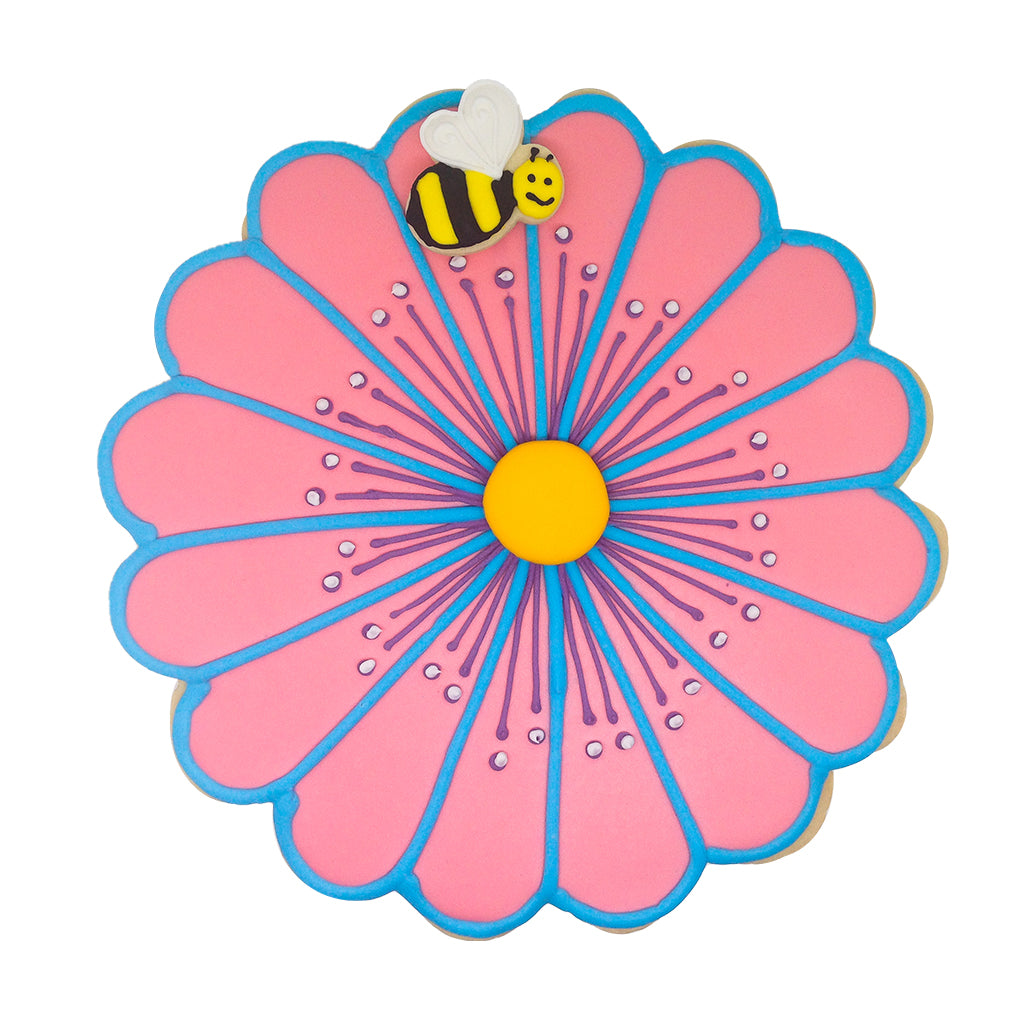 Giant Flower Cookie (Pink/Blue) - Memory Lane Cookies