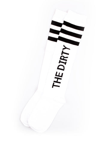 The Dirty Block Knee High Socks- White