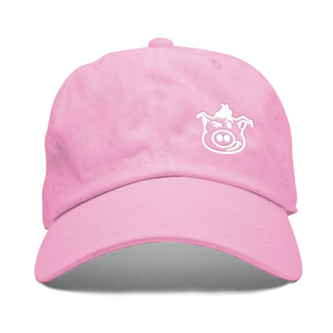 Pig Face Dad Hat - Pink/White