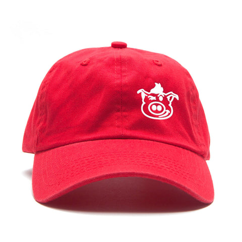 Pig Face Dad Hat - Red/White